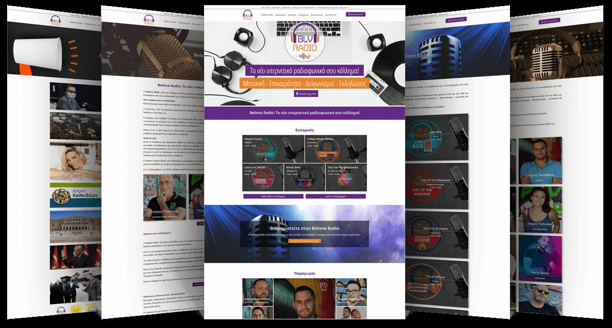 Εικόνες από διάφορες σελίδες της Ιστοσελίδας blvradio.gr