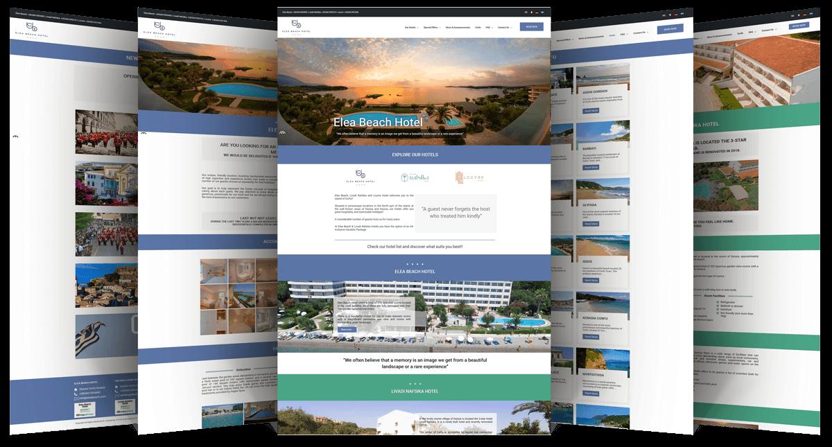 Εικόνες από διάφορες σελίδες της Ιστοσελίδας eleabeach.com