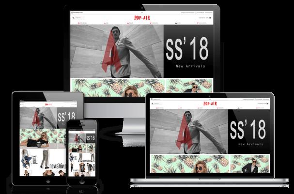 Απεικόνιση της Αρχικής Σελίδας του E-Shop pop-air.com