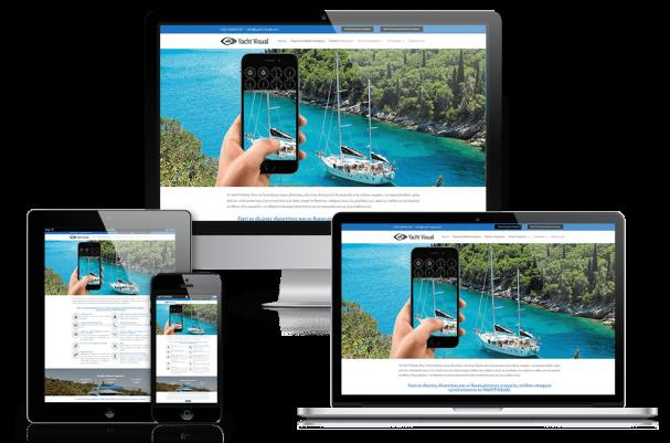 Απεικόνιση σε Διάφορες Συσκευές της Αρχικής Σελίδας της Ιστοσελίδας yacht-visual.com
