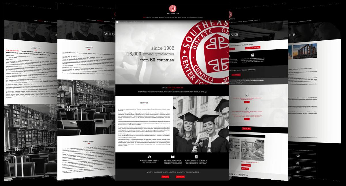 Εικόνες από διάφορες σελίδες της Ιστοσελίδας southeastern.edu.gr